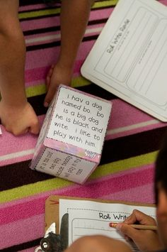 Roll, Write, revise- for Center time! sentences to be edited are taped to a tissue box and then rolled like a dice! Great idea! by darla