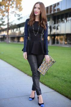 Mara Ferreira of M Loves M has perfectly streamlined soft and structured style, looking as cool as ever in James Jeans Black Jeather. Click to steal her style!