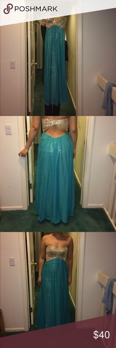 Homecoming/prom dress Gold sparkly sequin dress with teal overlay! Zipper is on the side and the bust is a shaped firm material so no bra necessary! Worn once! Good condition. Size 5/6 and model bust is 34d and waist 29 and the top fit just right. Model is also 5'9 and dress just touches the ground Deb Dresses Prom