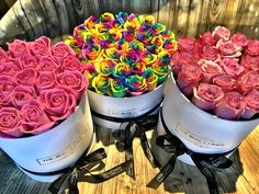 rainbow ponk roses in a box