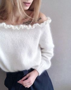 Open shoulders White mohair sweater knit sweater from kid mohair yarn Hand knit mohair sweater mohair sweater with frill - Pullover Mohair Yarn, Mohair Sweater, White Knit Sweater, Knit Fashion, Fashion Outfits, Knitwear Fashion, Hand Knitting, Knitting Patterns, Handgestrickte Pullover