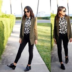 #LOOKMACHINEWork Monday…nothing a dope outfit can't fix  @nichollvincent	 #missguided #mixedprints #oversizedblazer #leopardprint #blouse #skinnyjeans #loafers #boucle