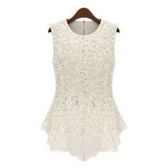 Plus Size Elegant Women s Jewel Neck Sleeveless Lace Blouse (€11) ❤ liked on Polyvore featuring tops, blouses, shirts, peplum tops, white, sleeveless shirts, sleeveless blouse, women plus size tops, plus size white shirt and white peplum blouse