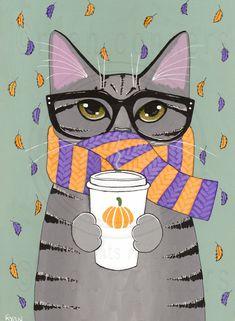 Autumn Pumpkin Coffee Grey Tabby Cat Original Folk Art Portrait Painting by KilkennyCat Art, $85.00 USD