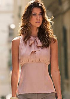 Lovely and Feminine - Pink Bow Neck Sleeveless Top Fashion Advice, Fashion Outfits, Bow Blouse, Sleeveless Blouse, Off Shoulder Tops, Dress Me Up, Ideias Fashion, Casual Dresses, My Style
