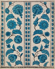 A stunning design of blue flowers on a cream background, taken from the Olga Hirsch collection of decorated papers, bequeathed to the British Library in Indian Patterns, Textile Patterns, Textile Prints, Print Patterns, Textiles, Lino Prints, Motif Design, Surface Pattern Design, Textile Design