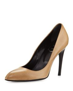 ROGER VIVIER DECOLLETE MISS VIV LEATHER 100MM PUMP, NATURALE CHIARO. #rogervivier #shoes #