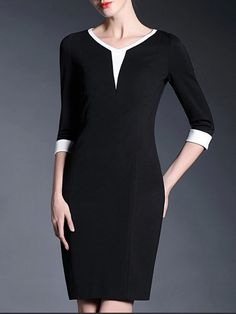 This is the perfect style for an Invert-Triangle body shape. The eye is drawn to the sharp neckline, elongating cut and white trim, while the contrast of the black draws the eye away from otherwise wide shoulders. The fitted skirt is perfect for those who want to show off slim legs and the white cuffs add a little French chic!