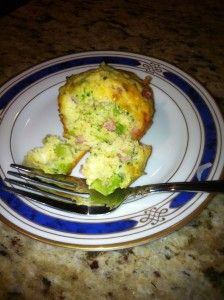 Broccoli, ham, and cheese mini-quiches for breakfast!