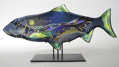 Tourmaline+Moon+Fish+Sculpture by Karen+Ehart: Art+Glass+Sculpture available at www.artfulhome.com