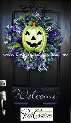 Halloween Wreath Deco Mesh Wreath Pumpkin by poshcreationsKY, $65.00