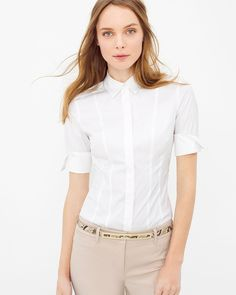 White House | Black Market Elbow Sleeve Poplin Shirt #whbm