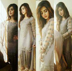 Light grey tunic shalwar suit with sleeves designs