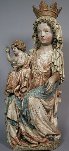 Sculpture made in Czech Republic, ca. 1350, Enthroned Virgin and Child, Limewood with paint. (Bohemian or Moravian)