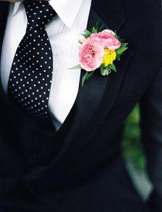 (Formal) Groom: Polka dot tie, white, lightly striped shirt, black suit and pretty flower boutonniere Wedding Groom, Wedding Suits, Wedding Attire, Wedding Dresses, Striped Wedding, Polka Dot Wedding, Nautical Wedding, Wedding Colors, Wedding Styles