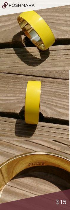SALEJ Crew Enamel Bangle Bracelet *Retail $24.50  *Wide Bangle  *Yellow colored outside   *Goldtone inside  *Good Condition J. Crew Jewelry Bracelets