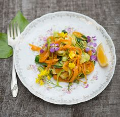 Zucchini and Carrot Ribbons with Edible Flowers | 23 Recipes That Will Feed Your Inner Flower Child