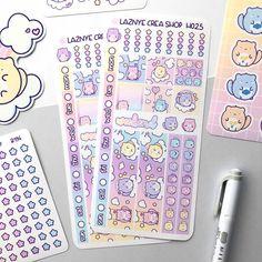 Care Cats Hobonichi Weeks Stickers Kit – LaznyeCreaShop Vinyl Sticker Paper, Hobonichi, Planner Stickers, How To Draw Hands, Doodles, Rainbow, Kit, Rain Bow, Rainbows