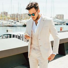 Summer Ivory Linen Suits for Men Wedding Casual Groom Tuxedo Classic Terno Masculino Slim Fit Groomsmen Attires Coat+Pants+Vest White Linen Suit, Linen Suits For Men, Khaki Suits, Beige Suits, Suit Up, Suit And Tie, Mens Fashion Suits, Mens Suits, Women's Fashion