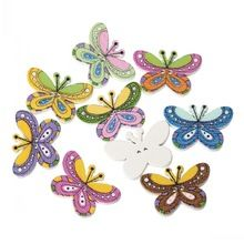 """Wood Painting Sewing Buttons Scrapbooking Butterfly 2 Holes Mixed 25mm x 17mm(1"""" x 5/8""""),100PCs 8seasons(China (Mainland))"""