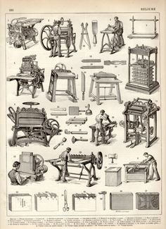 1897 Bookbinding Antique Print Vintage Lithograph by Craftissimo