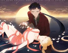 the moon has set, and only star's shining by shamkou on DeviantArt-i guess Usagi, Seiya .. thay are best couple of Sailor Moon Stars i want to illerstrate that he feels sadness for disappearing the princess of moon when sun rise up