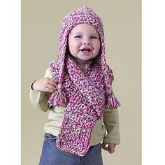 Make an ear flap hat and scarf set for everyone in the family! This simple earwarmer hat will be a hit with all ages! (Lion Brand Yarn)