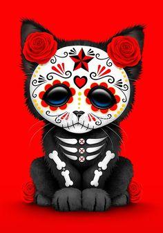 Cute Red Day of the Dead Kitten Cat by Jeff Bartels