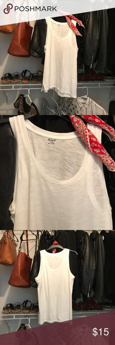NWT MADEWELL Ehisper cotton tank M New with tags MADEWELL Whisper cotton tank one white, one black. Willing to sell individually for $15 Madewell Tops Tank Tops