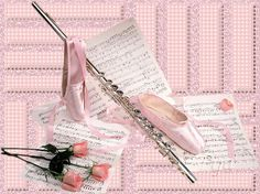 Flute, roses, ballet shoes and sheet music :)