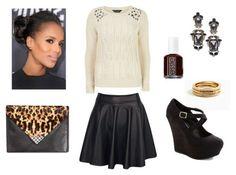 Studded white sweater, black skirt, black wedges, dark red nail polish, black earrings, gold rings, bun