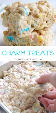 Lucky Charm Treats Lucky Charms has to be my kids all time favorite cereal. These Charm Treats are the new favorite in our house and they are teenager approved! Great Desserts, Köstliche Desserts, Delicious Desserts, Dessert Recipes, Yummy Food, Slow Cooker Desserts, Rice Crispy Treats, Krispie Treats, Homemade Rice Krispies Treats