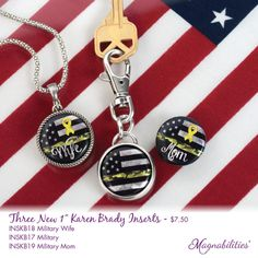 """Magnabilities Keychain and 1"""" Braided Circle Pendant with Military Inserts."""