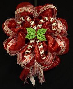 Candy Cane Wreath, Christmas Wreath, Red White Wreaths, Poly Mesh Wreaths.