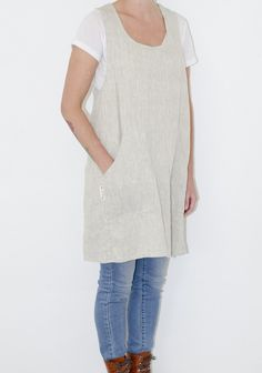 Handmade pinafore made from linen, hemp, and organic cotton. Cross back style, Japanese inspired. No strings or ties. Three sizes available.