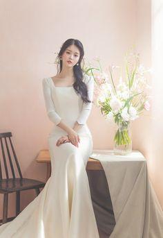 Beige Wedding Dress, Custom Wedding Dress, Dream Wedding Dresses, Wedding Attire, Wedding Gowns, Korean Wedding, Korean Bride, Long Sleeve Wedding, Wedding Photoshoot