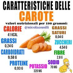 È uno degli ortaggi più versatili che esistano, consigliata da sempre per salute Real Food Recipes, Healthy Recipes, Nutrition Information, Menu Planning, Italian Recipes, Smoothies, Benefit, Carrots, Good Food