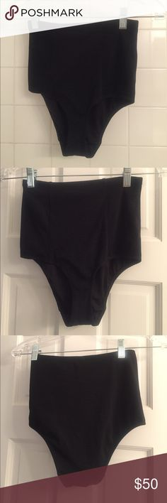 NWOT High - Wasted Bikini Bottoms NWOT Black ribbed high wasted bikini bottoms. Stretchy.. materials listed in picture. American Apparel Swim Bikinis