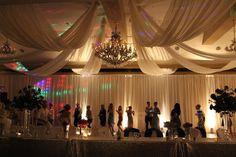 #drape #dance #party #wedding #reception #lighting #uplighting #ceiling #champagne #beautiful #boydsevents Party Wedding, Wedding Table, Wedding Events, Wedding Reception, Weddings, Wedding Decorations, Table Decorations, Champagne, Ceiling Lights