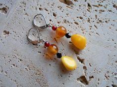 Czech glass,swarovski,crystal,carnelian,beads,silver,ear wires,earrings,handmade,crafted,jewelry,yellow,black,red,orange,color.