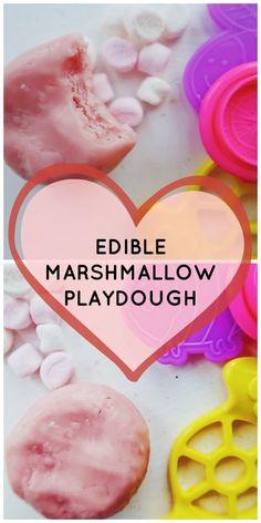 Edible playdough recipe, edible play dough, edible marshmallow playdough, marshmallow playdoh