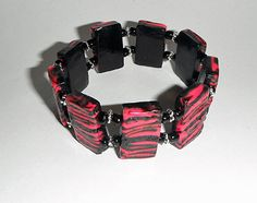 Pink and Black Zebra Stretchy Bracelet, Polymer Clay Bracelet, Item #S1010, Stretchy Bracelet, Handmade Jewelry, Art Jewelry, Jewelry Gift - pinned by pin4etsy.com