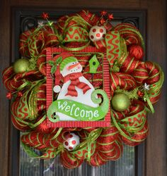 Christmas Mesh Wreath Red and Lime Green metal sign by JoowaBean, $110.00