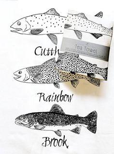 Artículos similares a Trout Tea Towel en Etsy Silk Screen Printing, Printing On Fabric, Japanese Restaurant Design, Textiles, Fabric Fish, Fabric Stamping, Stencil Art, Printed Linen, Fish Art