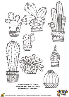 Preschool Cactus Coloring Pages (New) - Preschool Children Akctivitiys Cactus Drawing, Cactus Art, Cactus Plants, Cactus Doodle, Cactus Decor, Doodle Drawings, Doodle Art, Embroidery Patterns, Hand Embroidery