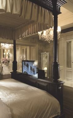 Black and white bedroom, furniture for luxury homes of the world, available at Harrods by Clive Christian. My old eyes need that tv at the foot of the bed! Victorian Bedroom Furniture, Luxury Bedroom Furniture, Bedroom Furniture Stores, Bedroom Decor, Furniture Online, Cozy Bedroom, Bedroom Ideas, Master Bedroom, Modern Furniture