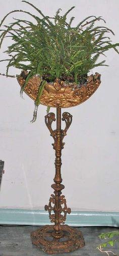 Vintage / Antique Art Deco Fish Bowl / Fern / Terrarium / Plant Stand / Gilt Iron / Fisherman In Boats