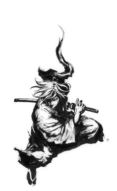 Fan art of the main character from Japanese comic Rurouni Kenshin 《るろうに剣心》 or Samurai X. Originally done in traditional medium (paper, brush and ink), is now digitized to share my art with the world. Tattoo Samurai, Samurai Drawing, Samurai Artwork, Samurai Anime, Demon Tattoo, Arte Ninja, Ninja Art, Samurai Poses, Samourai Tattoo