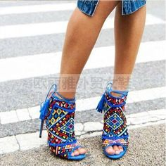 77.06$  Watch now - http://aihsa.worlditems.win/all/product.php?id=32780650738 - Royal Blue Embroidery Women Sandals Peep Toe Mixed Color Gladiator Sandals Back Lace Up Tassels High Heels Wedding Shoes