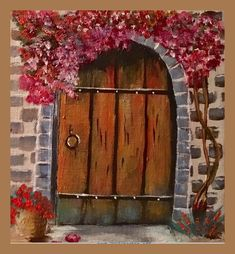 """""""Old Door"""" Cissy Brazi inspired y a video in our acrylic library of over 300 tutorials. www.gingercooklive.gallery."""